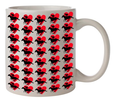 Hearts Racing Coffee Mug White